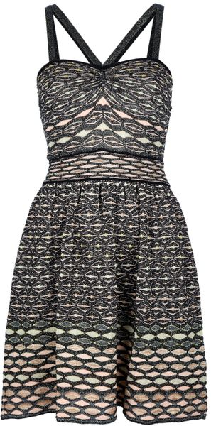 M Missoni Knitted Aline Dress in Black - Lyst