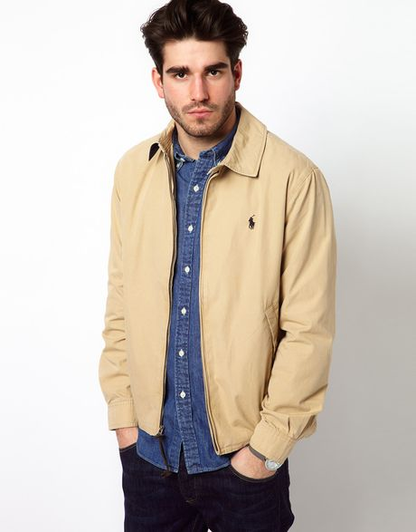 polo ralph lauren harrington jacket in beige for men lyst. Black Bedroom Furniture Sets. Home Design Ideas