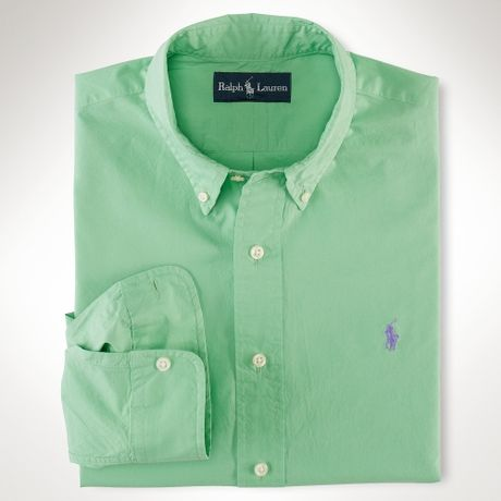 Polo ralph lauren customfit cotton shirt in green for men for Mint color polo shirt
