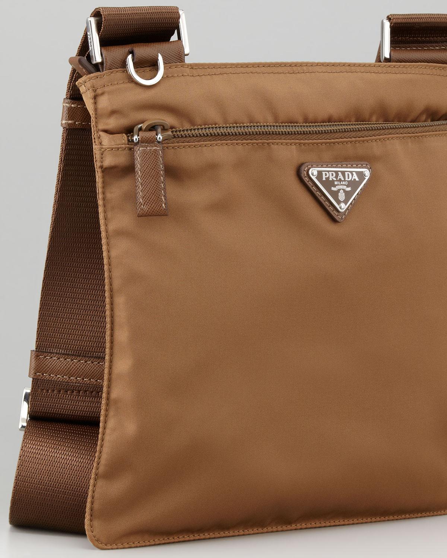 f0878701b7c3 Prada Vela Crossbody Messenger Bag in Brown - Lyst