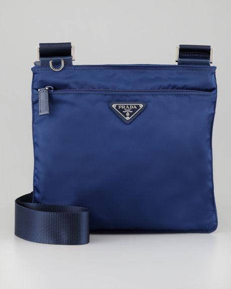 Prada Vela Crossbody Messenger Bag in Blue (royal blue) | Lyst