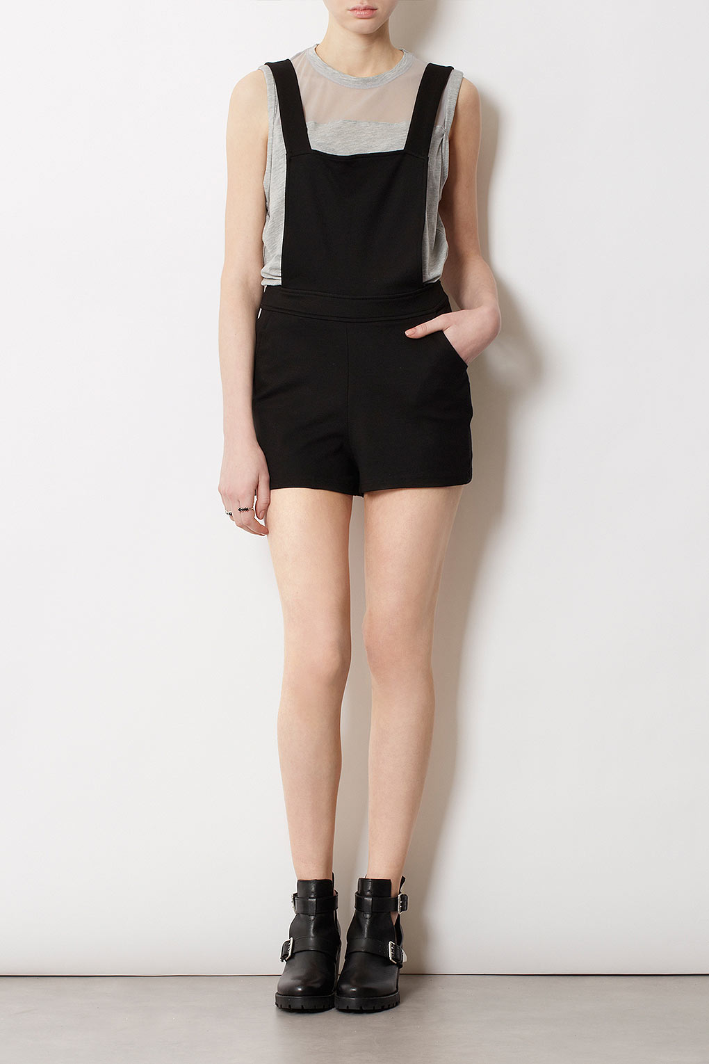 58cd90dfbad7 TOPSHOP Pinafore Playsuit in Black - Lyst