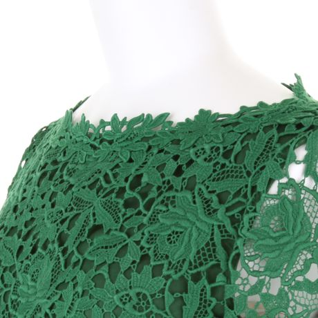 Long Sleeve Lace Dress on Green Long Sleeve Dress Long Sleeve Dress In Green Guipure Cotton Lace
