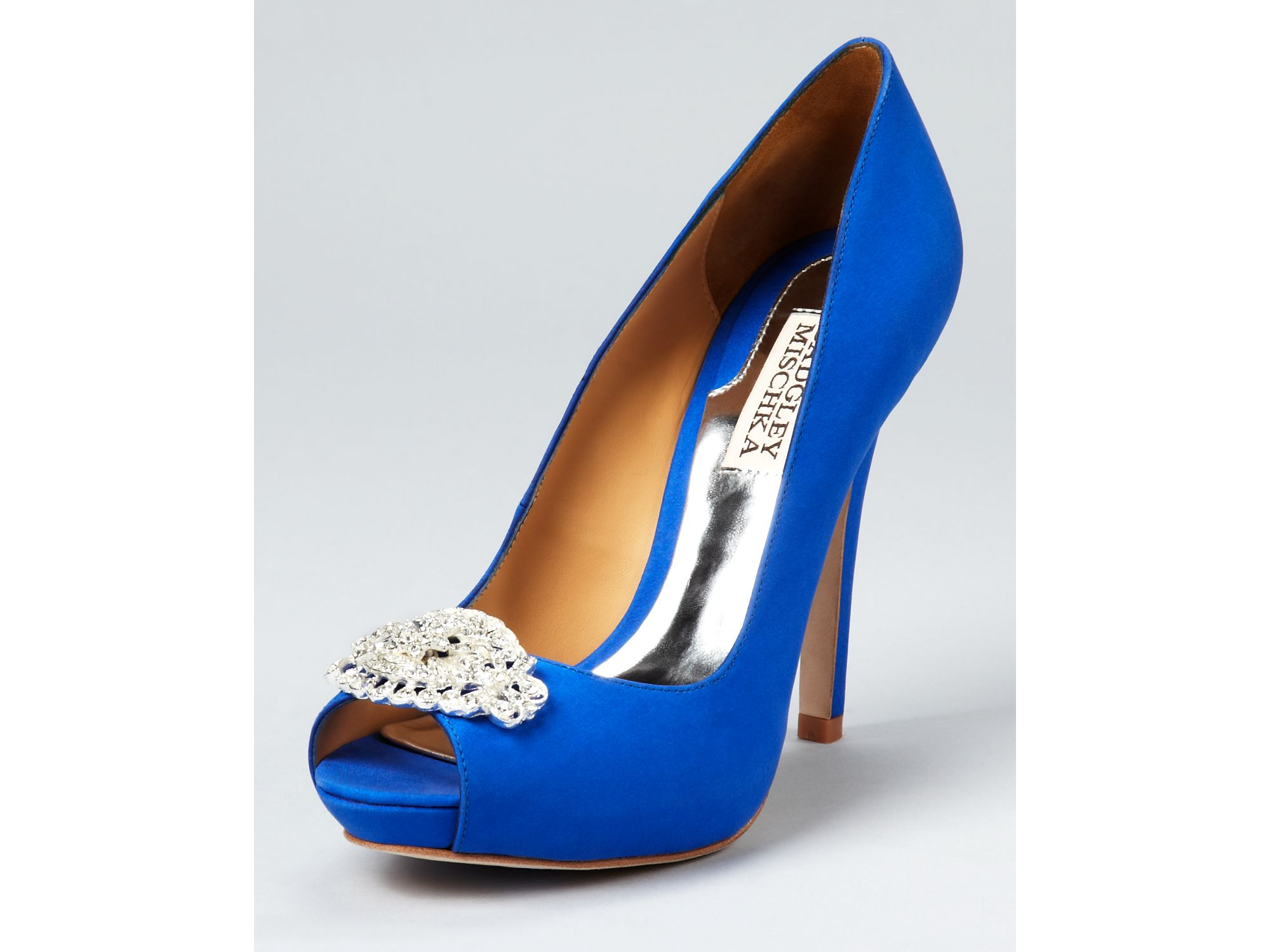 Lyst Badgley Mischka Pumps Goodie Peep Toe In Blue