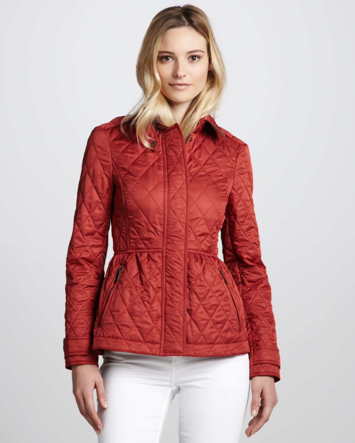 Lyst - Burberry brit Quilted Cinchwast Jacket Copper Pink in Pink : burberry brit jacket quilted - Adamdwight.com