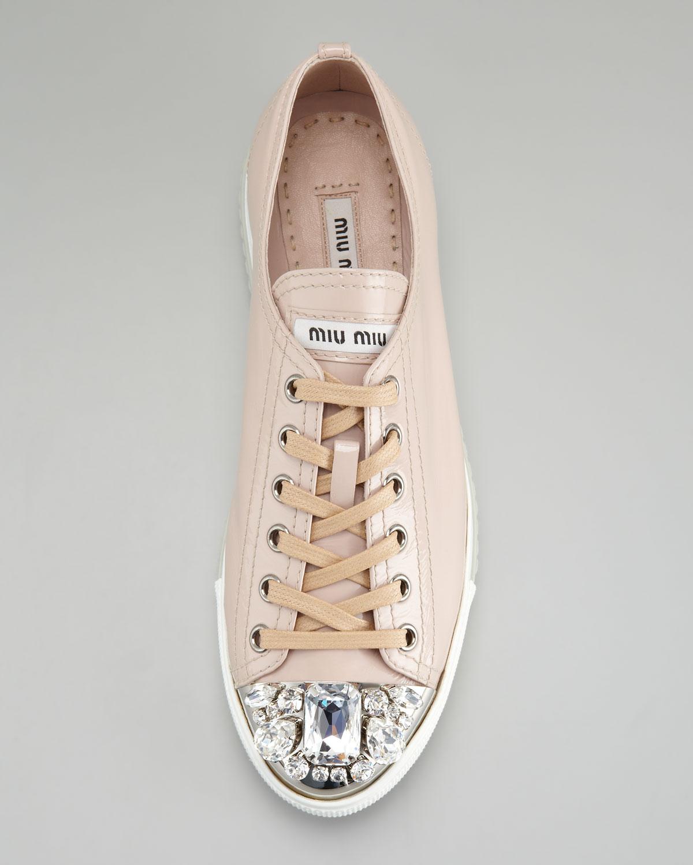 Miu Miu Jeweled Captoe Sneaker in Pink
