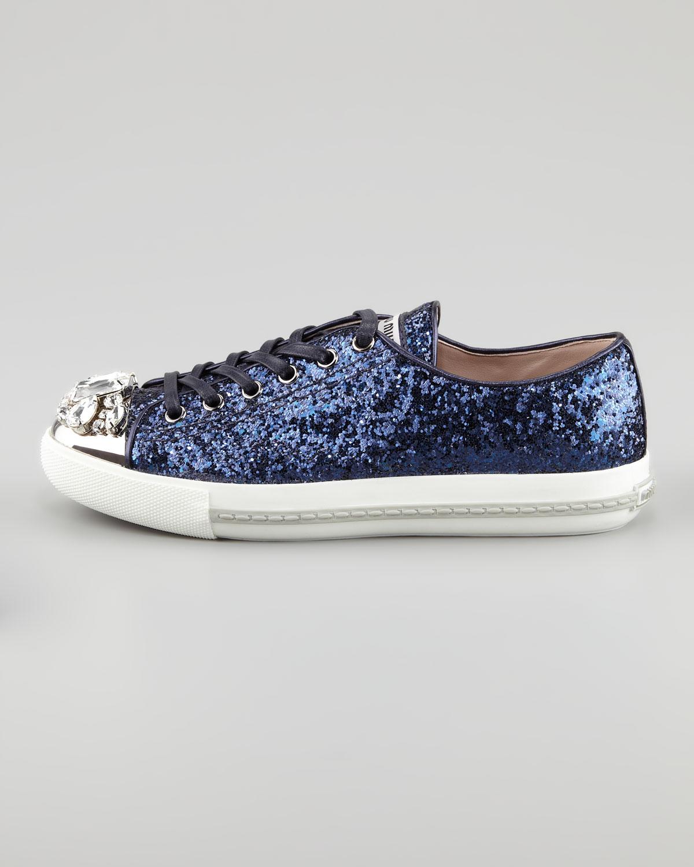 miu miu jeweled cap toe sneaker in blue navy lyst. Black Bedroom Furniture Sets. Home Design Ideas