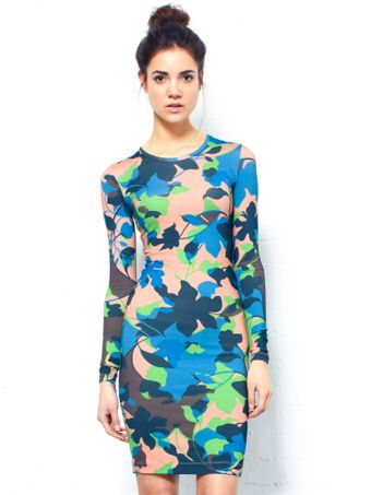 Jonathan Saunders Long Sleeve Floral Dress - Lyst