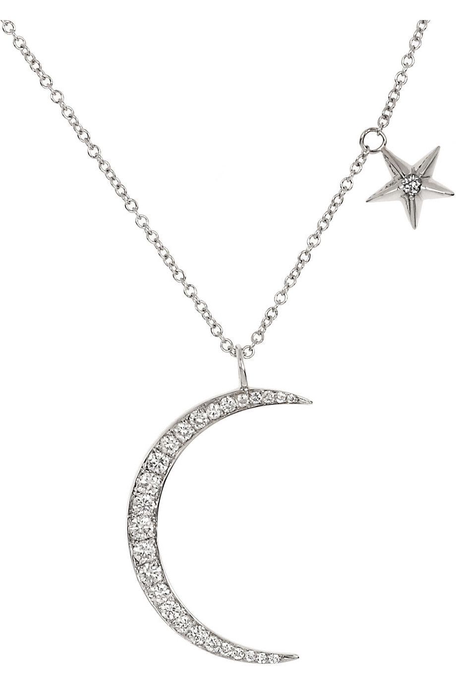 Anita Ko 18kt White Gold Moon Star Pendant Necklace With