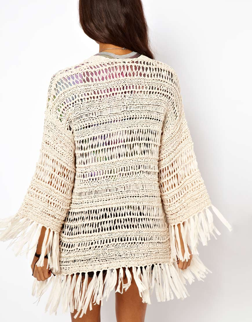 Lyst - Asos Kimono Cardigan in Crochet with Fringing in Natural