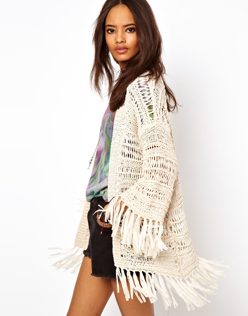 Lyst Asos Kimono Cardigan In Crochet With Fringing In