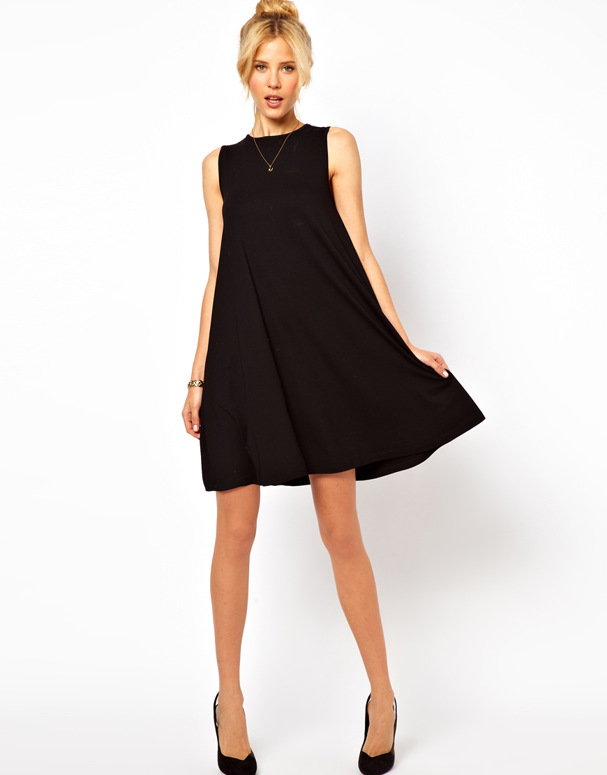 Lyst - ASOS Sleeveless Swing Dress. in Black