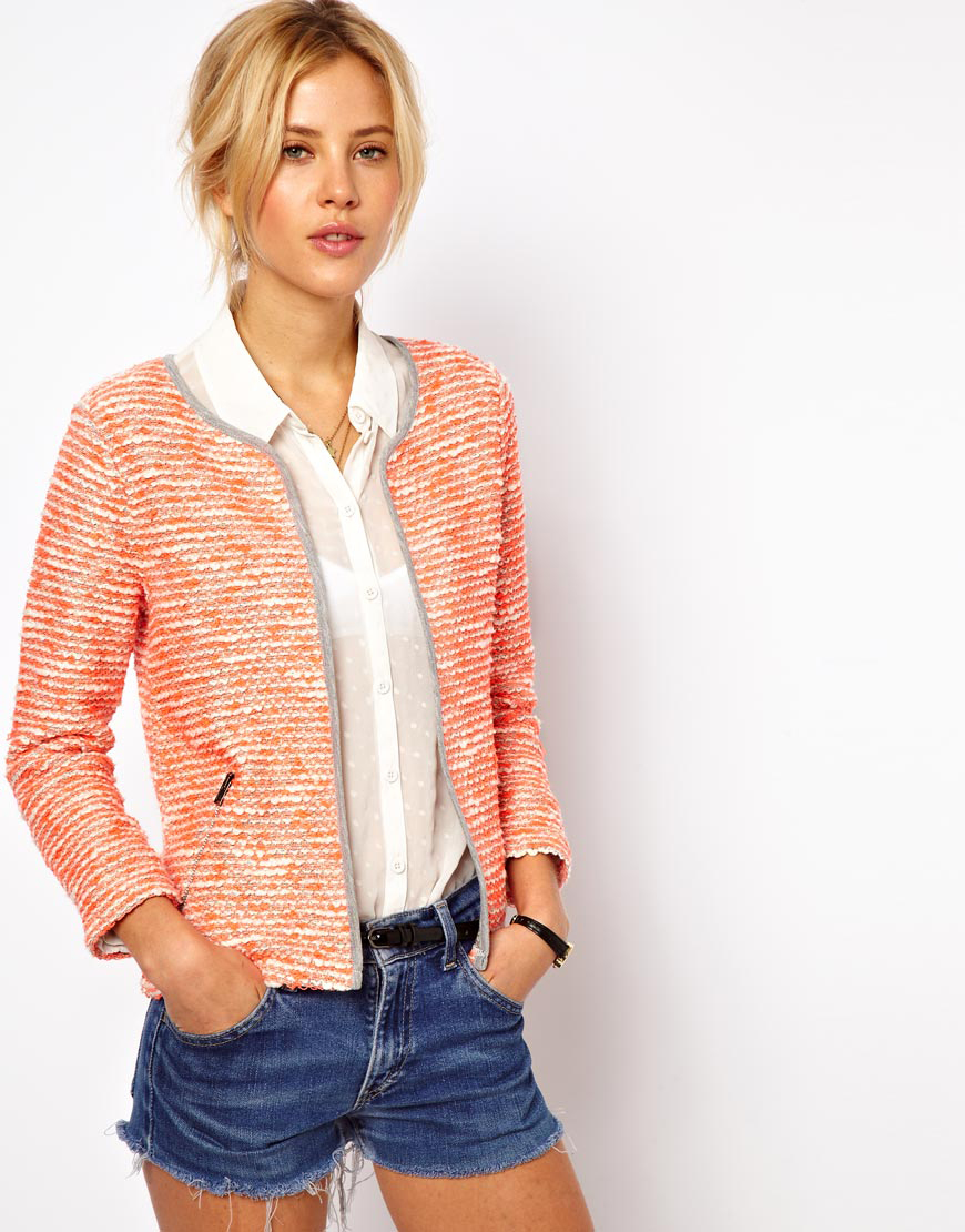 Lyst Asos Blazer In Fluro Boucle In Orange