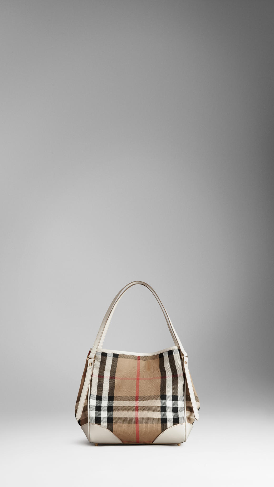 Burberry Small Bridle House Check Tote Bag In Natural Lyst