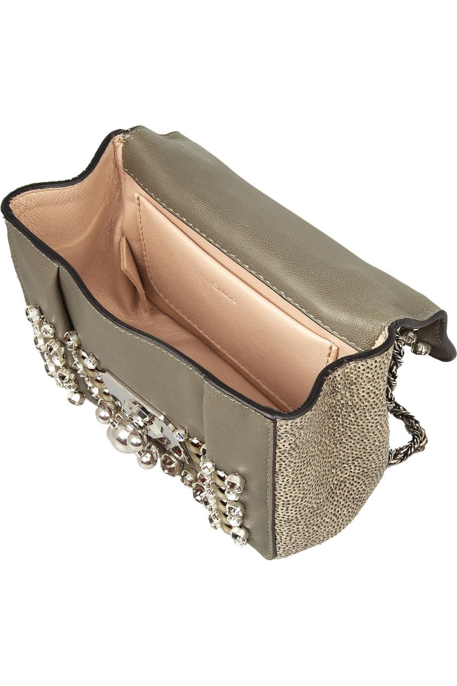 Chlo¨¦ Elsie Mini Embellished Watersnake Shoulder Bag in Gold | Lyst