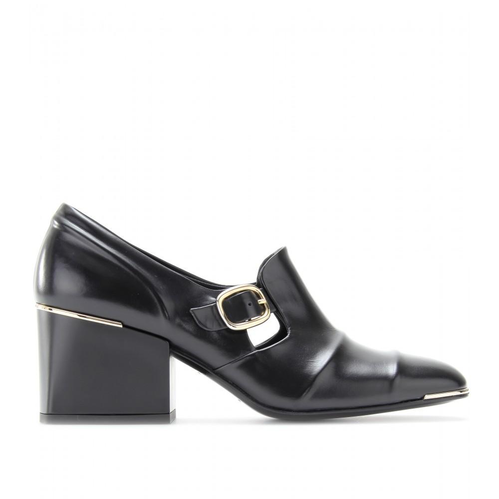 1d91b78f706 Lyst - Balenciaga Cube Block Heel Leather Loafers in Black