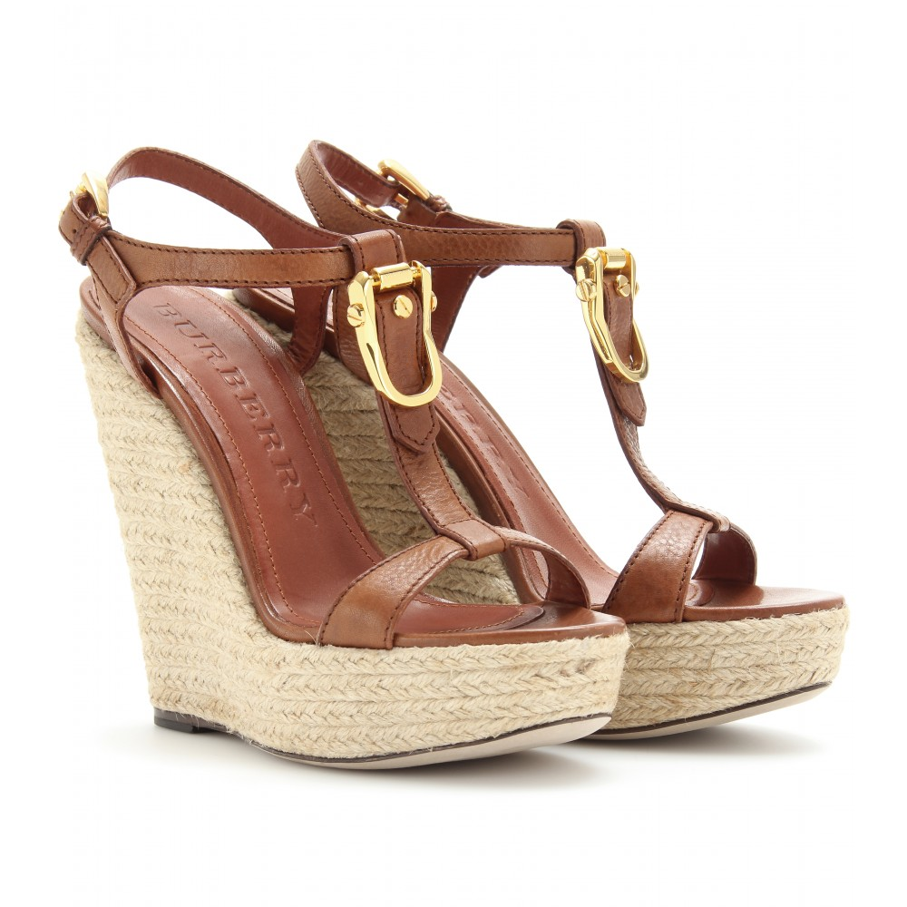 d32c01ca4cd1 BURBERRY Brown Clayton Espadrille Wedges