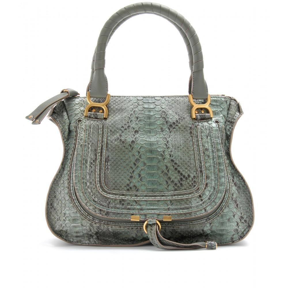 Chlo¨¦ Marcie Medium Python Leather Handbag in Gray (toscana cypres ...