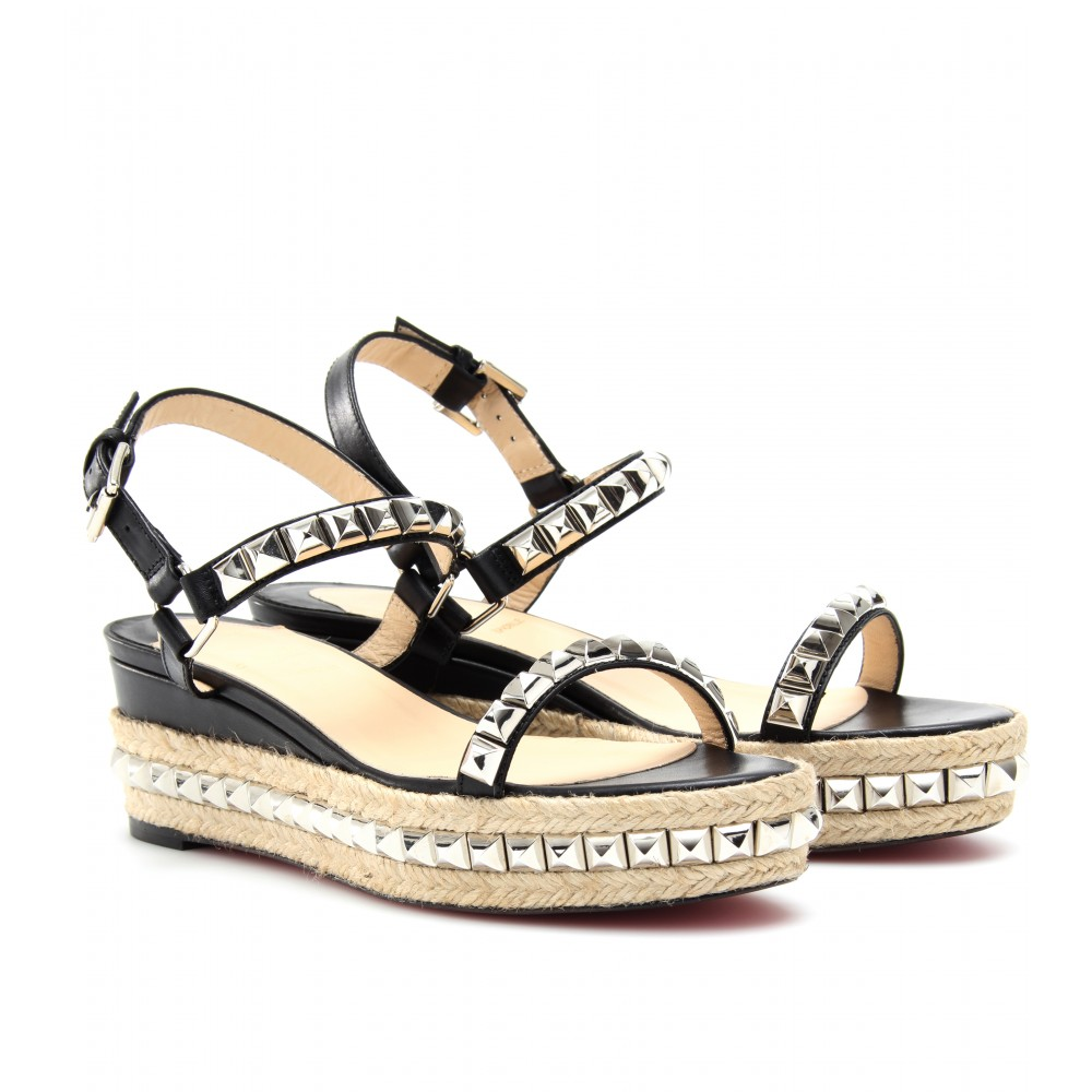 shoeniverse christian louboutin silver cataclou 60 studded espadrille sandals. Black Bedroom Furniture Sets. Home Design Ideas