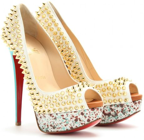 Christian Louboutin Lady Peep Spikes 150 Peeptoe Platform Pumps in White