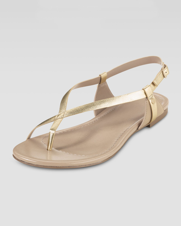 56faa243eee Lyst - Cole Haan Flat Thong Sandal in Metallic