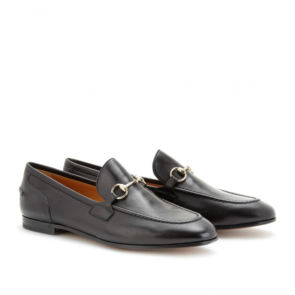 Womens black leather gucci loafers