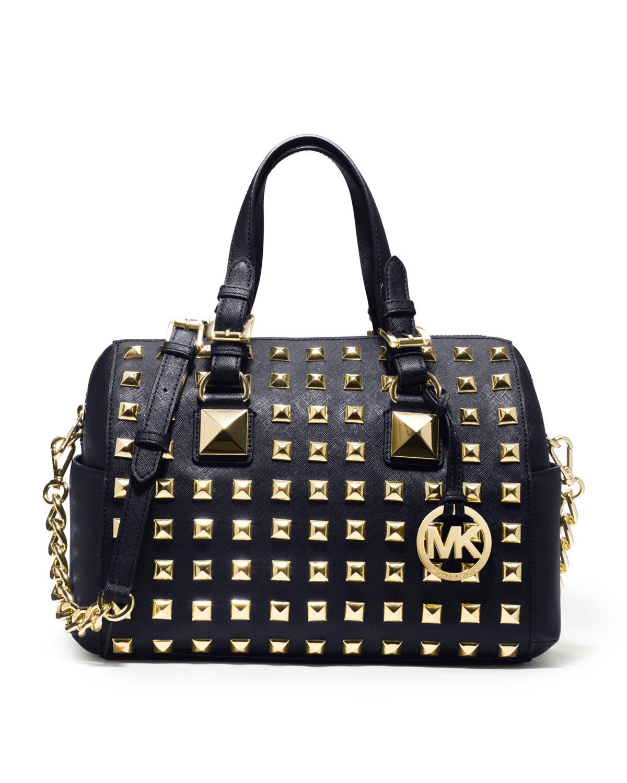 michael michael kors medium grayson studded satchel in gold navy lyst. Black Bedroom Furniture Sets. Home Design Ideas