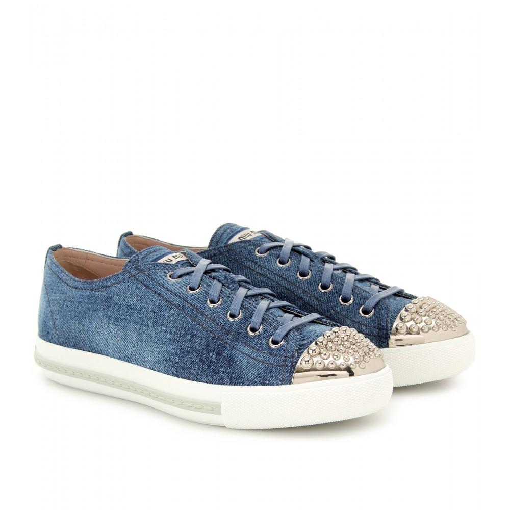 Miu Miu Denim Sneakers in Blue - Lyst
