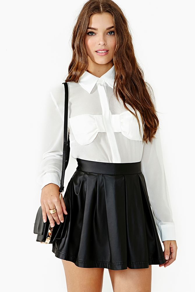 Lyst Nasty Gal Audrey Bow Blouse In White