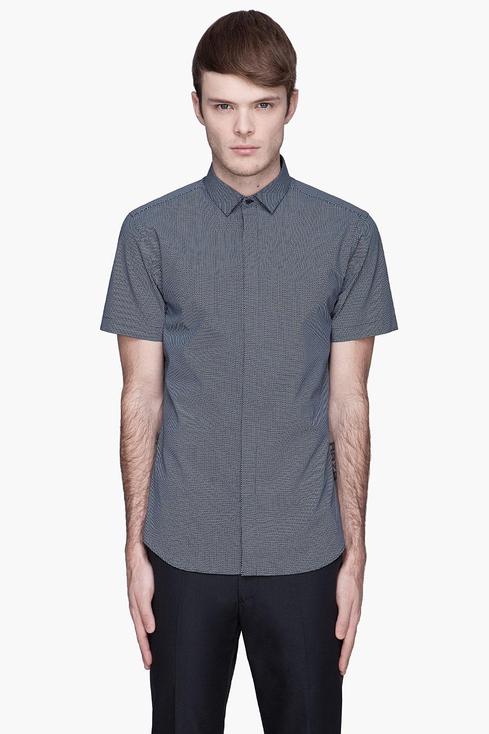 Neil barrett polka dot slim shirt in blue for men navy for Neil barrett tuxedo shirt