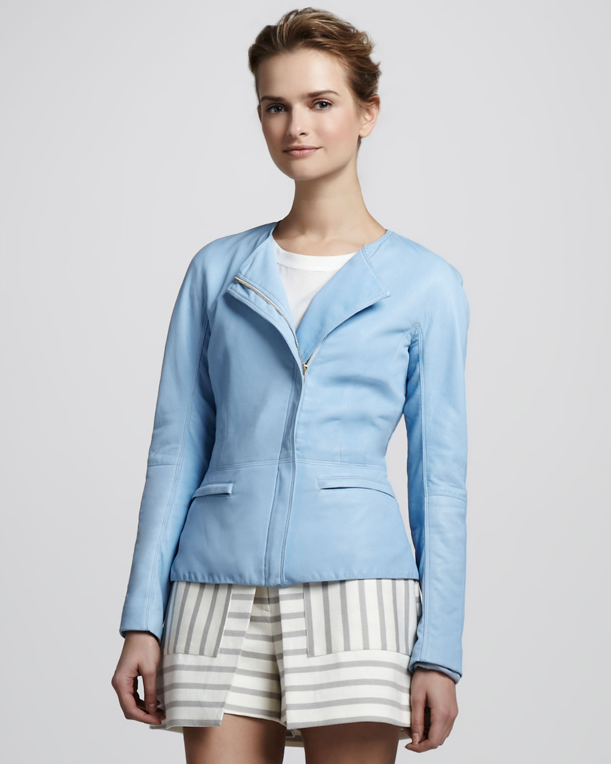 1fd4d1b878 Theory Ford Tailored Leather Jacket in Blue - Lyst