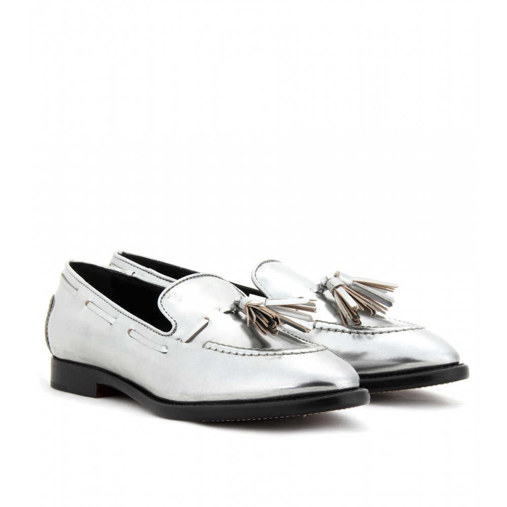 d37fe32907d Lyst - Tod s Metallic Boxcalf Loafers with Tassel in Metallic