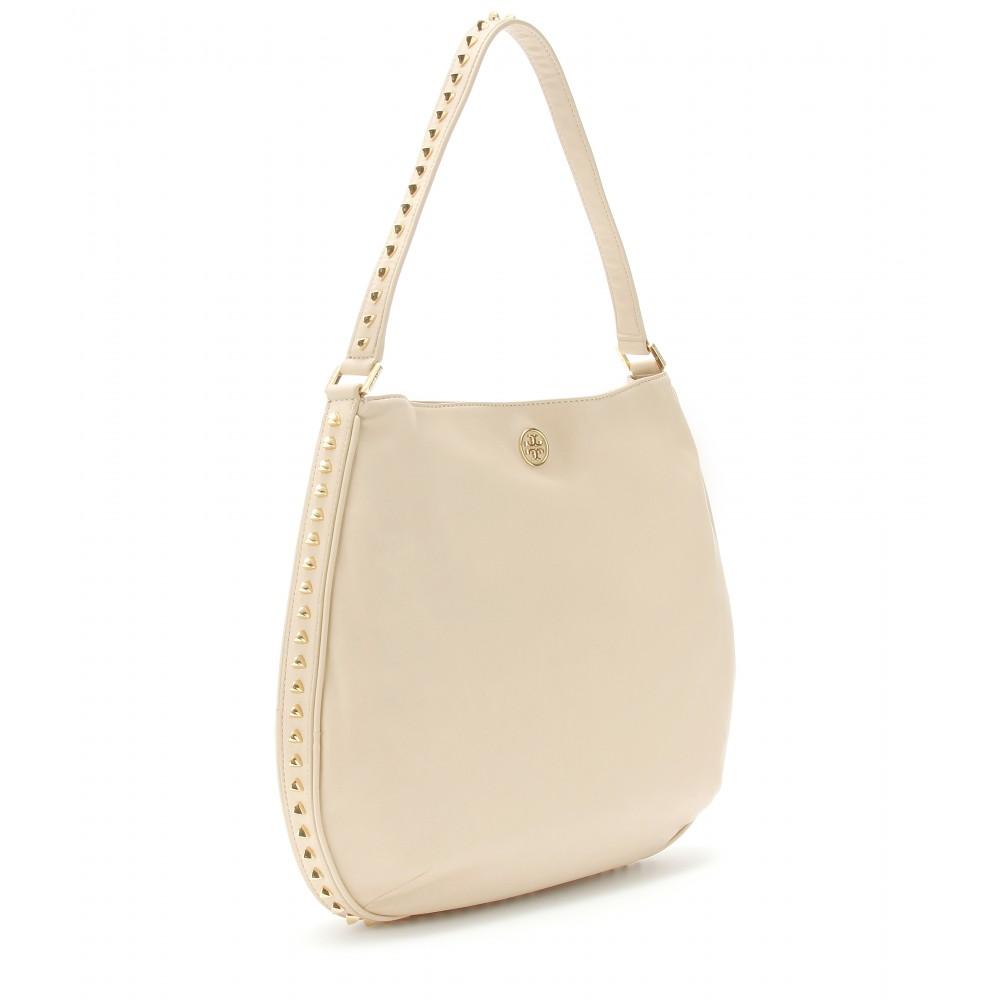 96504feddd61 Lyst - Tory Burch Pyramid Studded Hobo Bag in White
