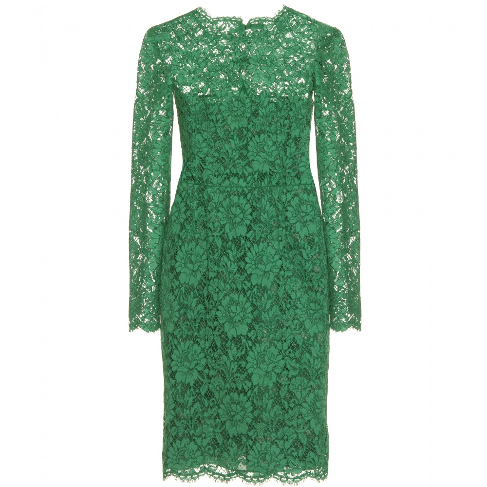 Valentino Chantilly Lace Dress In Green Emerald Lyst