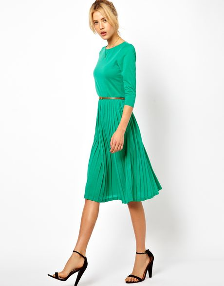 Asos Midi Dress With Pleated Skirt In Green Lyst