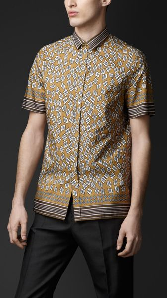 Burberry Prorsum Cotton Diamond Print Shirt - Lyst