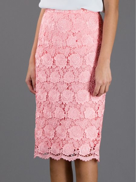 christopher lace pencil skirt in pink lyst