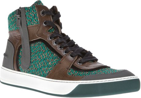 Lanvin Hitop Knit Trainer in Green for Men