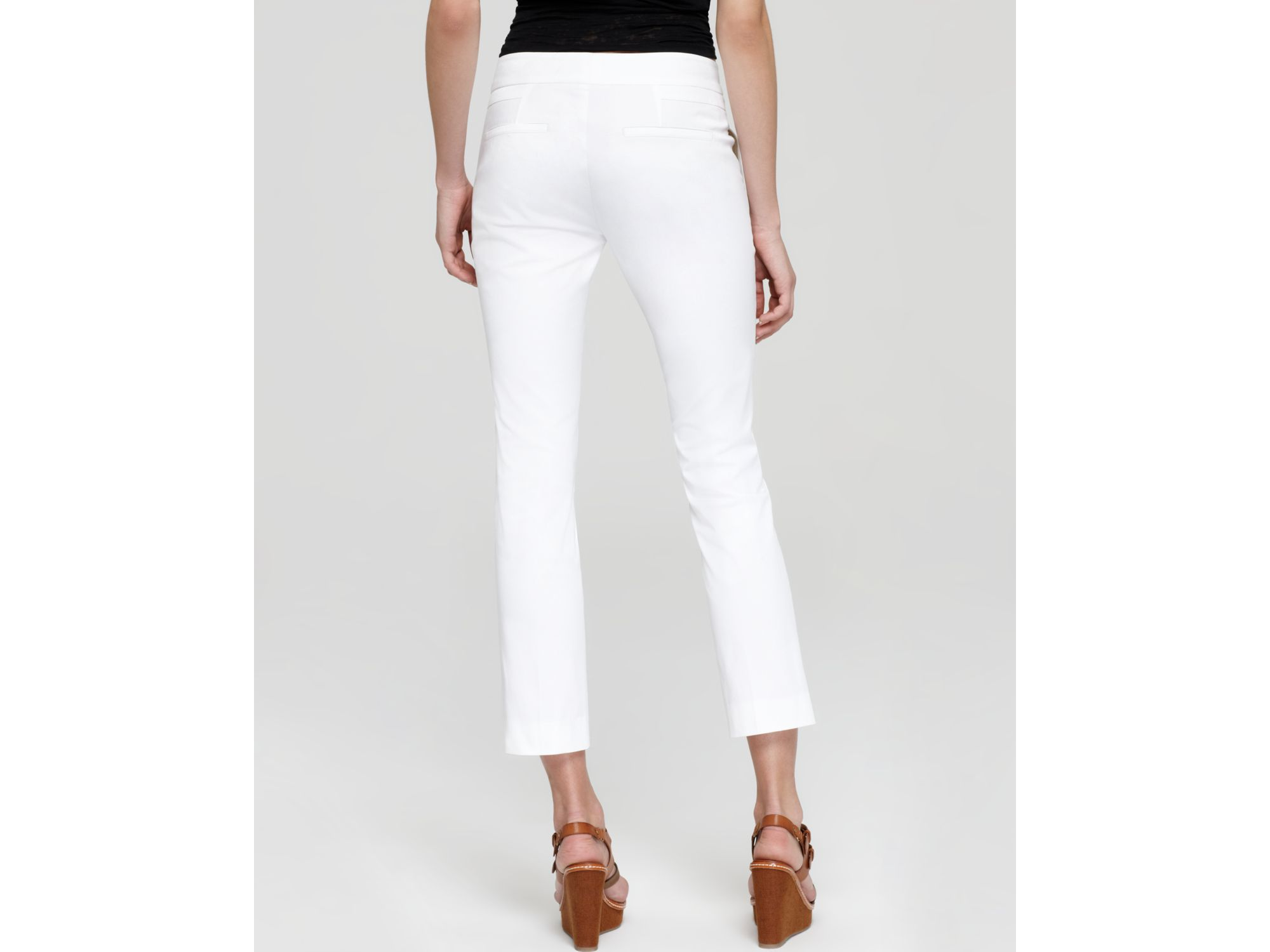 Vince Pants Straight Cropped in White | Lyst