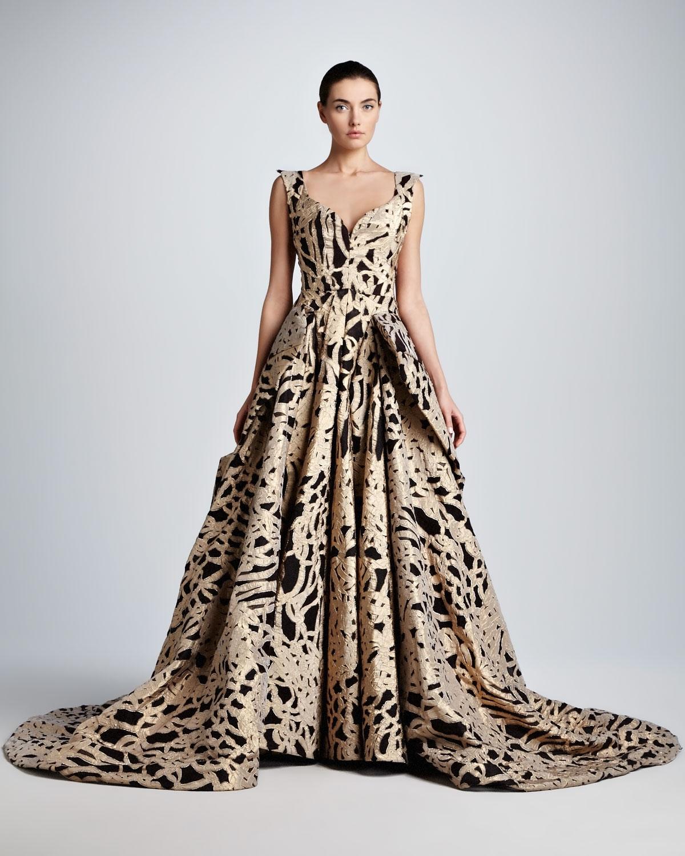 Lyst - Zac Posen Brocade Sweetheart Evening Gown in Metallic