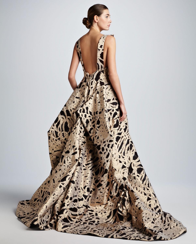 Lyst Zac Posen Brocade Sweetheart Evening Gown In Metallic