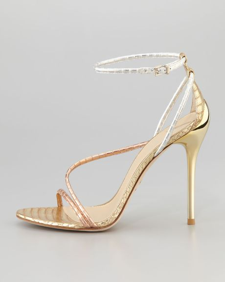 B Brian Atwood Labrea Hologram Snake Sandal In Gold Gold