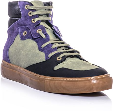Balenciaga Canvas and Leather Hightop Trainers in Multicolor for Men (khaki)