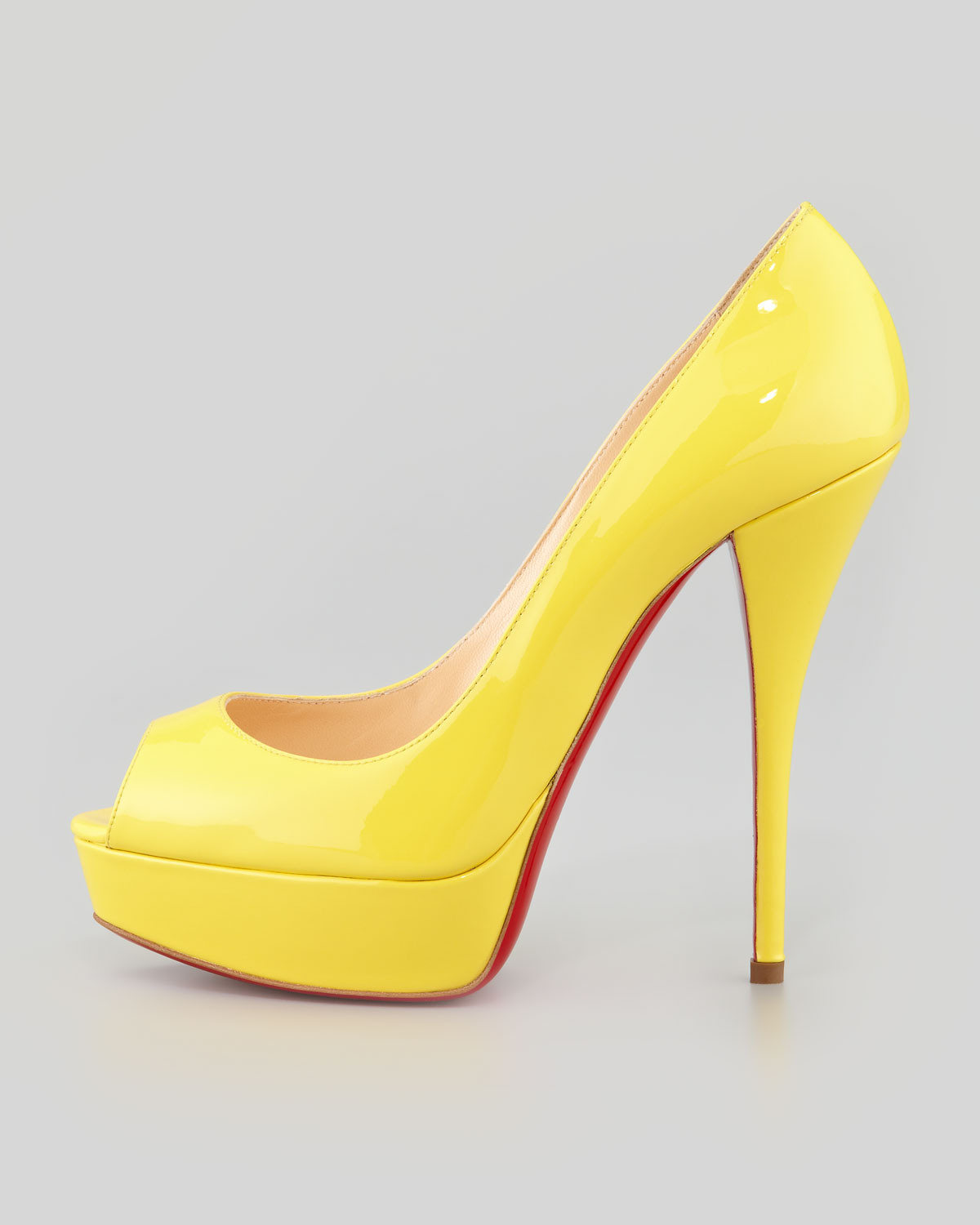 9c82f0ae1cf Christian Louboutin Yellow Troca Patent Red Sole Platform Pump