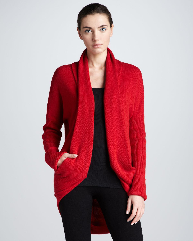 lyst donna karan midweight cashmere cocoon jacket in red. Black Bedroom Furniture Sets. Home Design Ideas