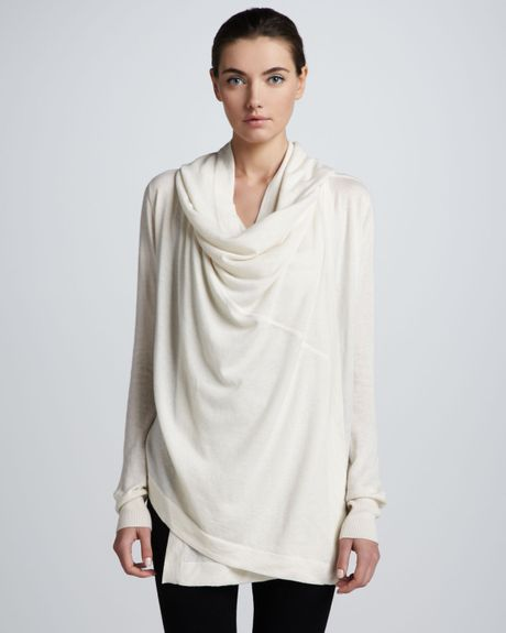 donna karan new york hooded cashmere cozy in white vellum. Black Bedroom Furniture Sets. Home Design Ideas