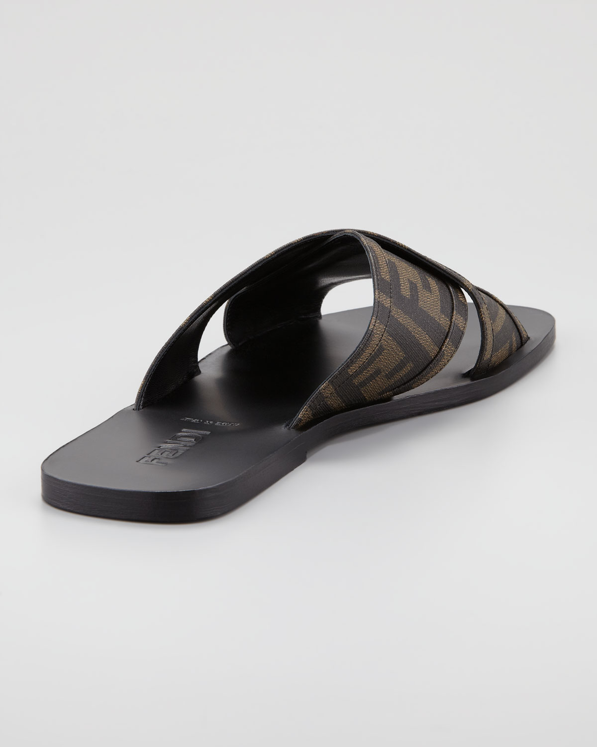 Lyst Fendi Logo Slide Sandal In Brown For Men