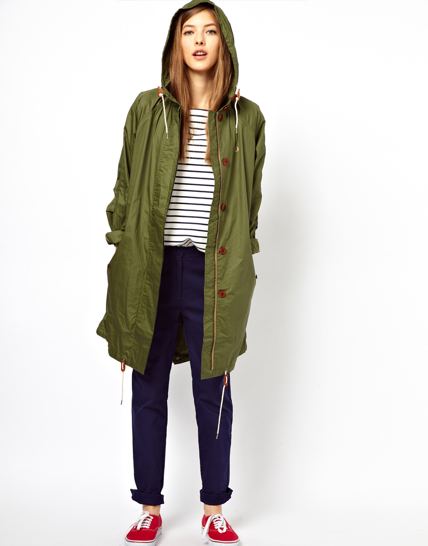 lyst fred perry oversized parka in green. Black Bedroom Furniture Sets. Home Design Ideas
