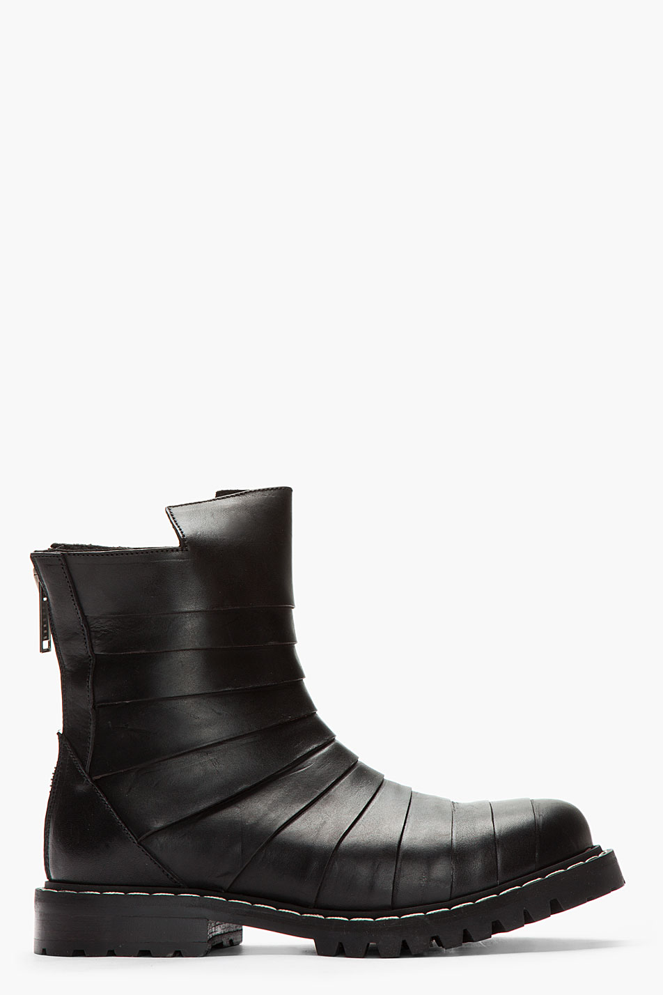 gareth pugh paneled leather cutout biker boots in black