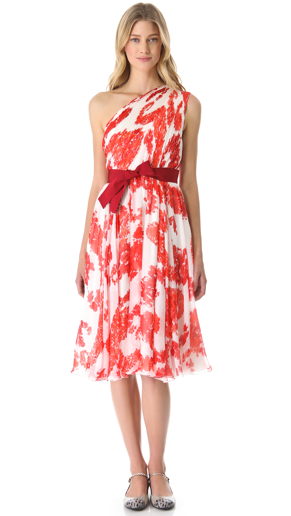 93a897e145ce Lyst - Giambattista Valli One Shoulder Floral Dress in Orange